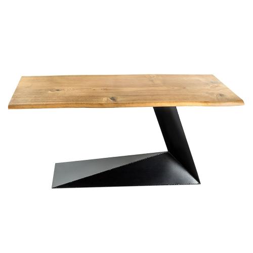 Стол из массива дуба с металлическим подстольем (1008)-1