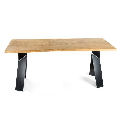 Стол из массива дуба с металлическим подстольем (1009)-1