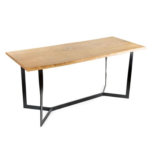 Стол из массива дуба с металлическим подстольем (1010)