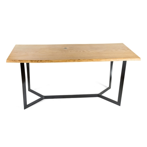 Стол из массива дуба с металлическим подстольем (1010)-1