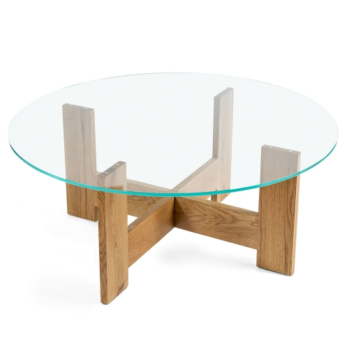 Стол из дуба и закаленного стекла (1011)