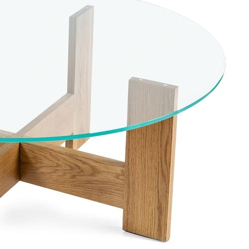 Стол из дуба и закаленного стекла (1011)-1