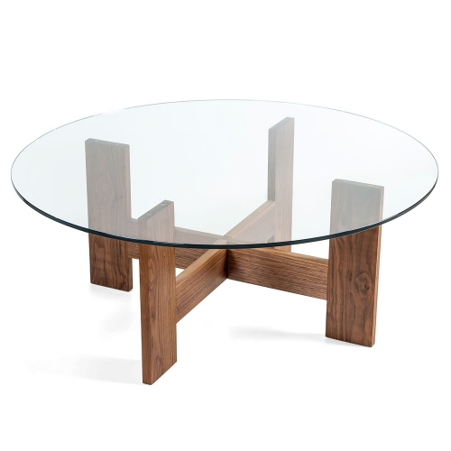 Стол из американского ореха и закаленного стекла (1034)