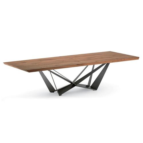 Стол из массива дуба с металлическим подстольем (1035)