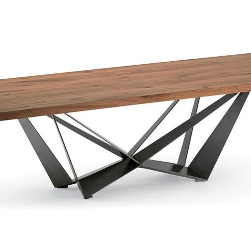 Стол из массива дуба с металлическим подстольем (1035)-1